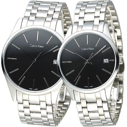 cK TIME 極簡風藍寶石水晶鏡面對錶~黑 K4N21141 K4N23141