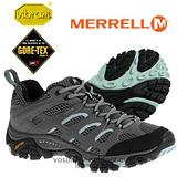【美國 MERRELL】女新款 Moab GORE-TEX XCR 專業防水透氣低筒登山健行鞋__灰/水藍 ML32674