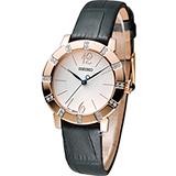 【僾瑪精品】SEIKO SWAROVSKI 玫瑰金水鑽皮革時尚女用腕錶-30mm/7N01-0HT0P(SRZ456P1)