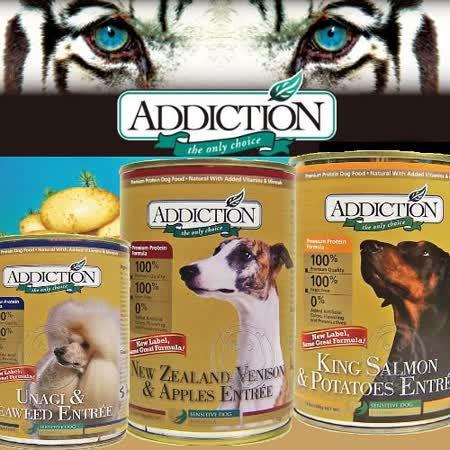 紐西蘭Addiction無穀鹿肉蘋果|鰻魚海苔|鮭魚馬鈴薯狗罐390g*12瓶