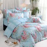 義大利La Belle《薔薇戀曲-藍》加大四件式防蹣抗菌舖棉兩用被床包組