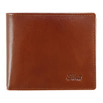 SIKA義大利素面牛皮中性短皮夾A8206-01深褐色