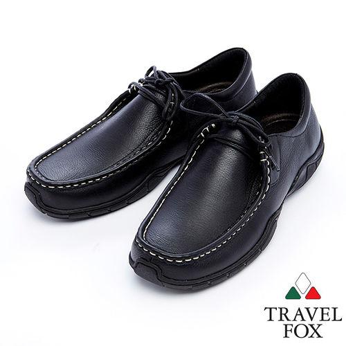 Travel Fox 皮革紋柔軟舒適鞋915122 黑~01