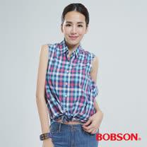 BOBSON 格子綁式上衣  (藍格24133-55)