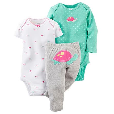 美國 Carter / Carter\'s 嬰幼兒包屁衣與長褲屁屁圖案三件組_桃紅烏龜_CTGBP004