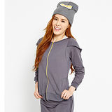 TOP GIRL休閒運動連帽棉針織外套-女(鐵灰色)
