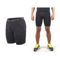 (男) FIRESTAR 機能緊身短褲-慢跑 路跑 運動短褲  麻灰黑