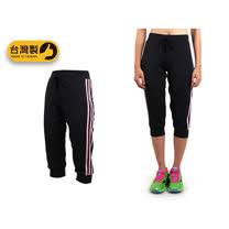 (女) SOFO 七分褲-台灣製 慢跑 有氧 韻律 瑜珈 運動長褲 黑粉