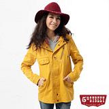 5th STREET 軍風連帽平織外套-中性-桔黃色
