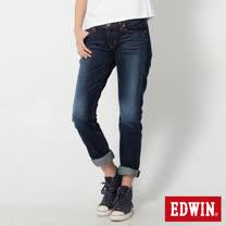 EDWIN MISS 505立體繡AB牛仔褲-女-酵洗藍