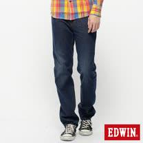 EDWIN 基本五袋高腰中直筒牛仔褲-男-拔淺藍