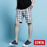 【EDWIN】休閒帥氣-時尚反褶格子短褲-男款(黑格)