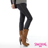 SOMETHING 高腰貼合窄直筒保溫褲-女-原藍色