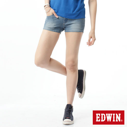 EDWIN 迦績褲JERSEYS涼感牛仔短褲~女~重漂藍