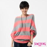 SOMETHING 條紋寬版線衫-女-桔紅色