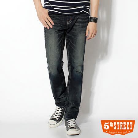 5th STREET 復古刷洗 1965純棉窄直筒牛仔褲-男款(原藍磨)