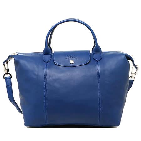 Longchamp 小羊皮可摺疊二用包_短把/中/藍色
