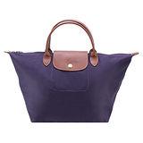 Longchamp 經典Le Pliage系列戰馬摺疊短把水餃包(中/紫藍)