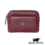BRAUN BUFFEL 極簡系列素面拉鍊零錢鎖包(紅色)BF179-323-RD