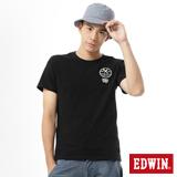 EDWIN 貼布繡花配色T恤-男-黑色