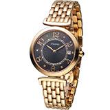 Standel Luxury 詩丹麗 極光系列時尚鑽錶 5S1501-111RG-DM 黑x玫瑰金色