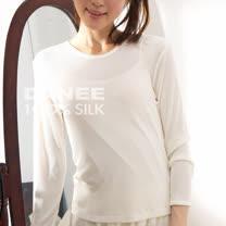 【岱妮蠶絲】5C30643純蠶絲羅紋圓領長袖(白色)