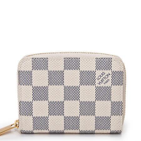 Louis Vuitton N63069 白棋盤格紋信用卡拉鍊零錢包_預購