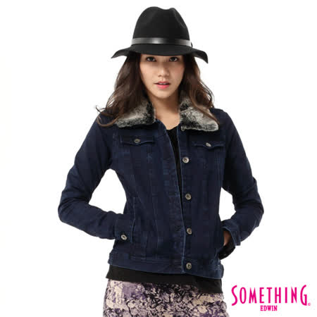 SOMETHING 毛領針織牛仔外套-女-中古藍