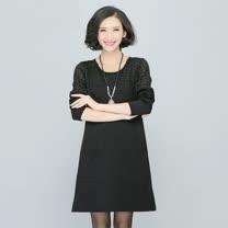 【Maya 名媛】(l~4xl)半透視肩格紋拼接雪紡長袖連衣裙-黑色