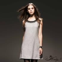 【Hedy赫蒂】蕾絲圓領金蔥無袖直筒洋裝(共二色)