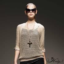 【Hedy赫蒂】金蔥混色小V領洞洞毛線罩衫(共二色)
