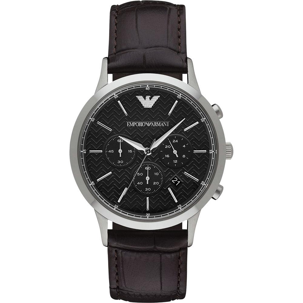 Emporio Armani Classic 都會新貴計時腕錶~黑x咖啡 43mm AR2