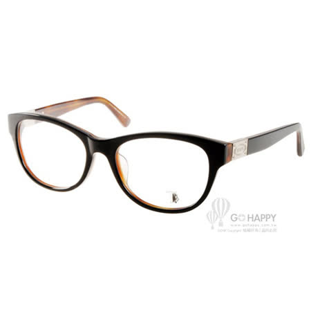 TOD'S眼鏡 簡約百搭款(黑-琥珀) #TOD4121 005