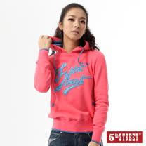 5th STREET 配色連帽T恤-女-珊瑚紅