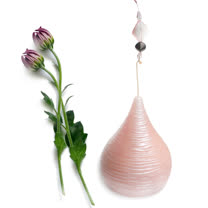 浪漫珠光粉紅香氛水滴造型蠟燭-小