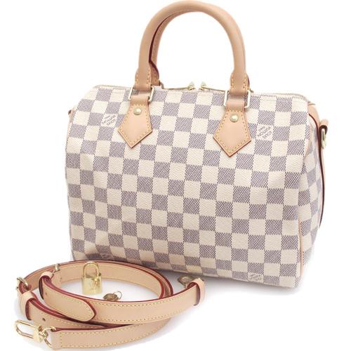 Louis Vuitton LV N41374 Speedy 25 白棋盤格紋附斜背帶手提