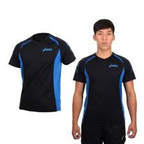 (男) ASICS 排汗短袖T恤- 路跑 慢跑 排球 亞瑟士 黑寶藍