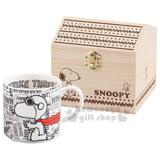 〔小禮堂〕史努比 附木盒陶瓷馬克杯《白.英文.飛行員》房子造型木盒