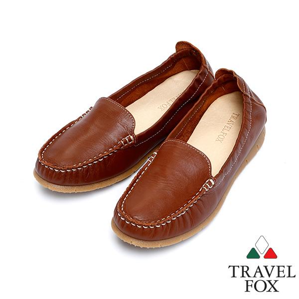 女 Travel Fox 柔軟皮革鬆緊帶舒適鞋915315 咖啡~12
