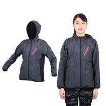 (女) MIZUNO 半長風衣外套 - 防風 刷毛 保暖  深灰桃紅