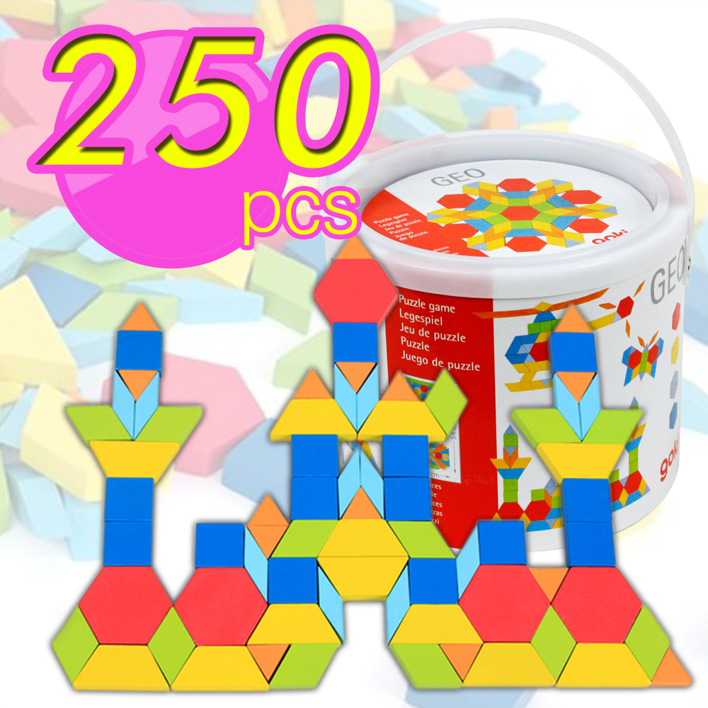 【funKids】兒童木製-繽紛幾何百變益智積木250PCS桶裝組