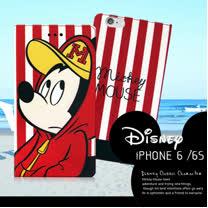 迪士尼授權正版 iPhone6 / 6s i6s 4.7吋 潮流條紋磁力皮套(帽T米奇)