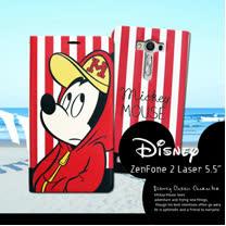 迪士尼授權正版 ASUS Zenfone 2 laser 5.5吋 ZE550KL 潮流條紋磁力皮套(帽T米奇)
