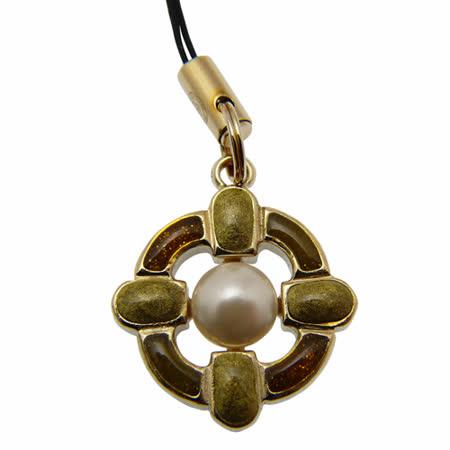 CHANEL 金屬寶石吊飾(琥珀)