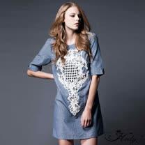 【Hedy赫蒂】珍珠刺繡半袖棉質洋裝(藍色)