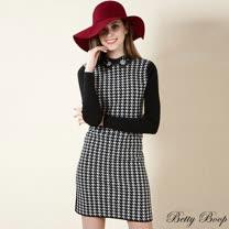 【Betty Boop貝蒂】燒花縫鑽領千鳥格拼羅紋針織洋裝(黑白色)