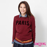 SOMETHING 立體PARIS長袖厚T恤-女-暗紅色