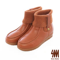 SM-全真皮-素面百搭襪套休閒短靴-橘色