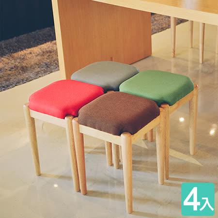 《Peachy life》無印唯美方形款椅凳/餐椅/休閒椅-4入組(4色可選)