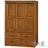 【優利亞-典雅雕花】4X6尺半實木推門衣櫥